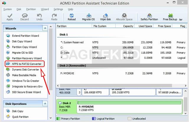 Konverter NTFS ke FAT32 Aomei