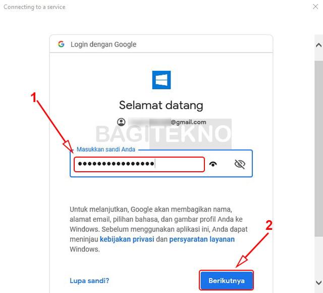 Masukkan password Google