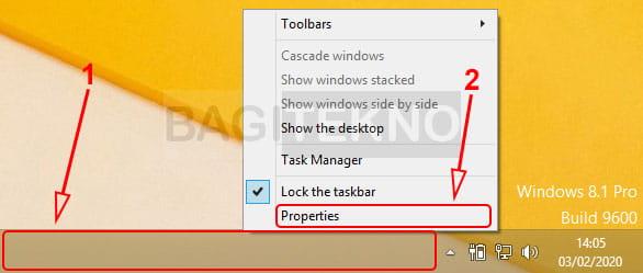 Membuka properties taskbar Windows 7 atau Windows 8/8.1