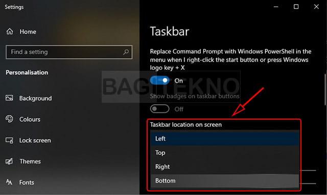 Cara memindahkan letak taskbar Windows 10