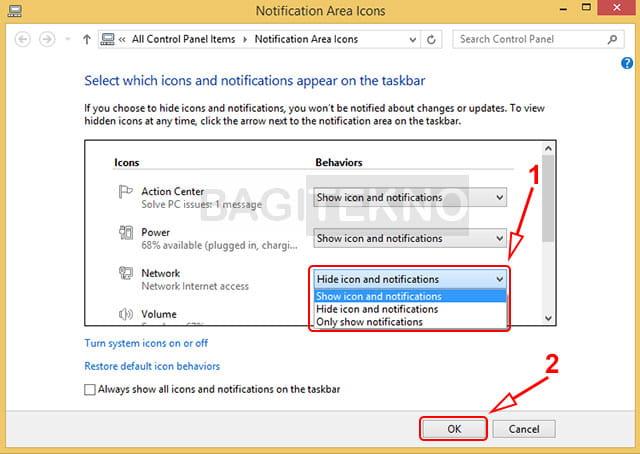 Menampilkan atau menghilangkan icon di sebelah kanan taskbar Windows 7 dan Windows 8/8.1