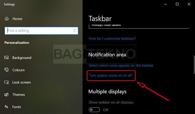 Menampilkan atau menyembunyikan icon di sebelah kanan taskbar Windows 10
