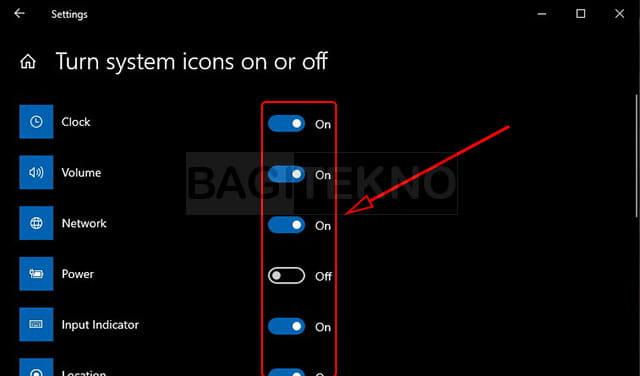 Mengatur icon system tray Windows 10