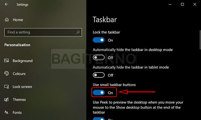 Cara mengecilkan ukuran taskbar di Windows 10
