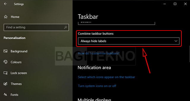 Cara menghilangkan teks icon di taskbar Windows 10