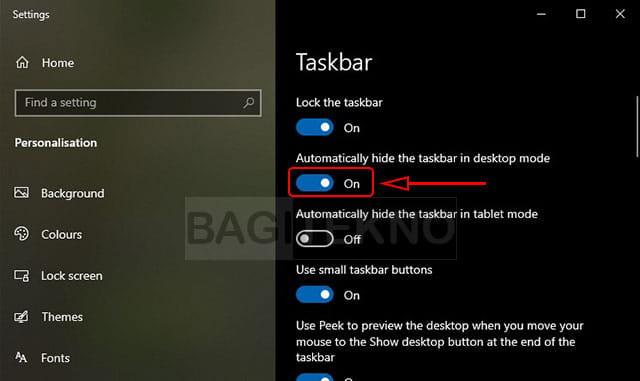 Cara menyembunyikan taskbar di Windows 10