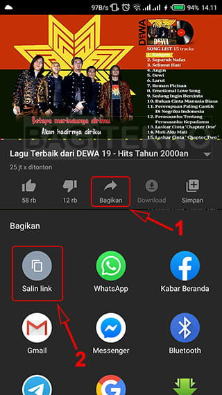 Memutar YouTube Android di latar belakang