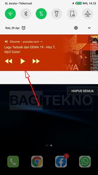 Memutar suara YouTube pada panel notifikasi Android