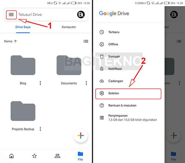 Setting tema aplikasi Google Drive Android
