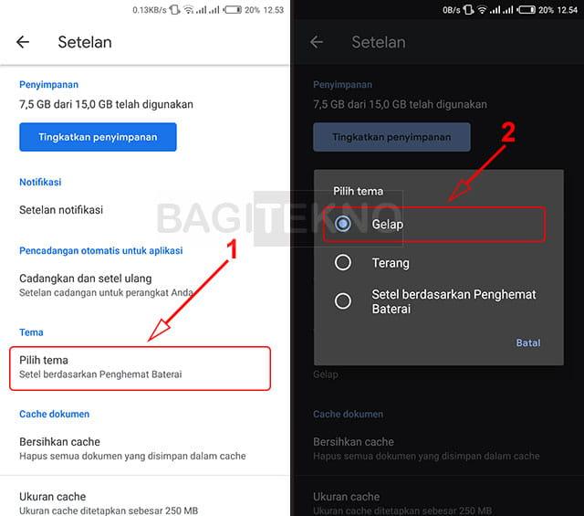 Mengubah tampilan Google Drive Android menjadi dark mode
