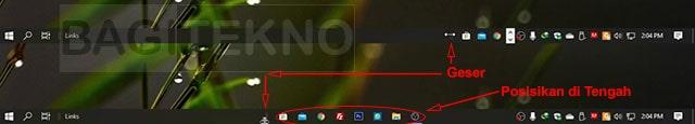 Bagaimana cara agar icon aplikasi pada taskbar berada di tengah?