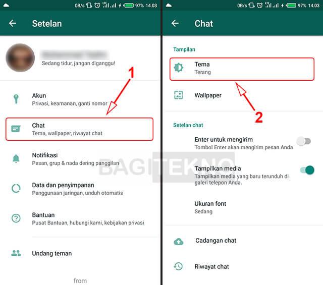 Merubah pengaturan Chat WhatsApp