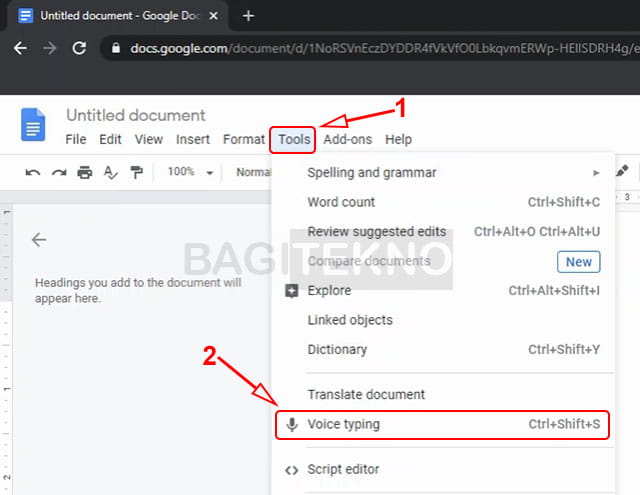 How to type using voice in Google Docs