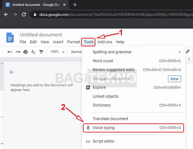 Cara mengetik menggunakan suara di Google Docs