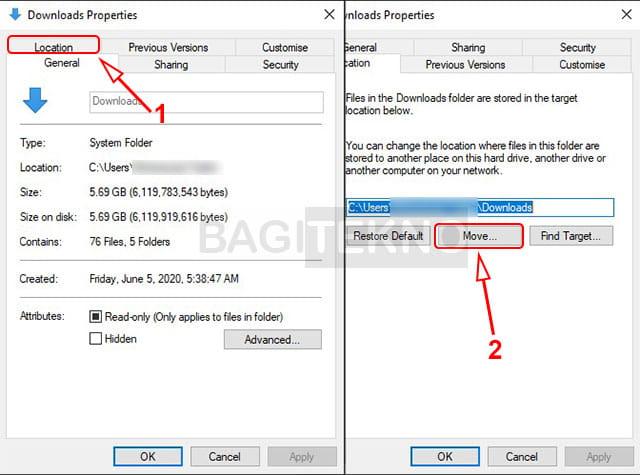 Cara memindahkan folder download ke partisi lain