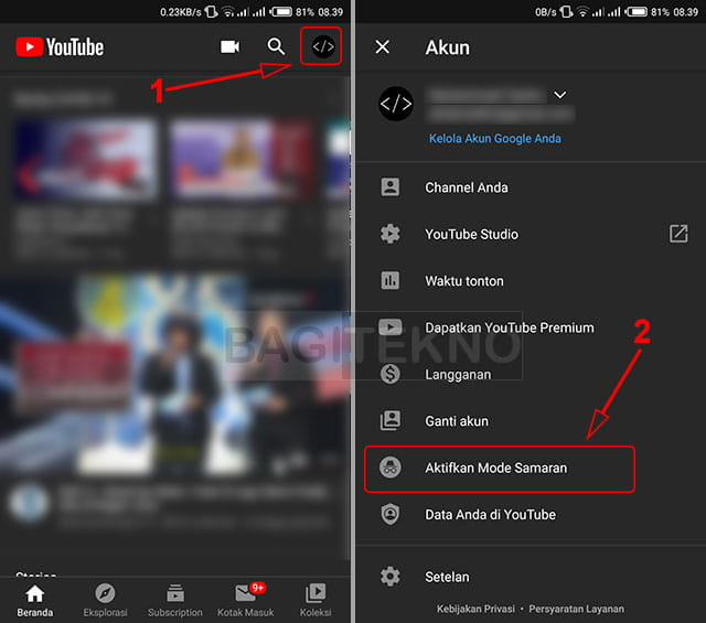 How to enable incognito mode on the YouTube Android app