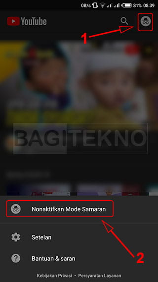 Cara menonaktifkan mode samaran YouTube Android