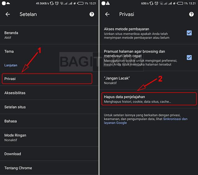 Membersihkan data penjelajahan Chrome Android