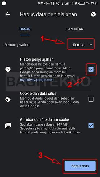 Cara menghapus history Chrome di Android
