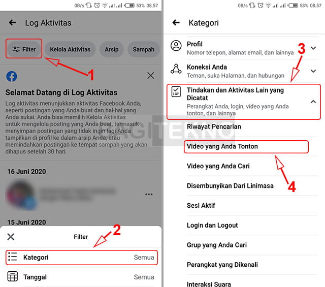 Cara menampilkan log video Facebook