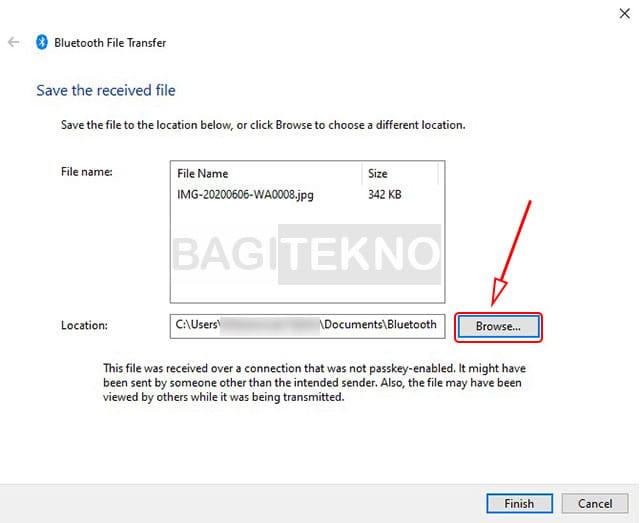 Cara mengganti lokasi folder Bluetooth