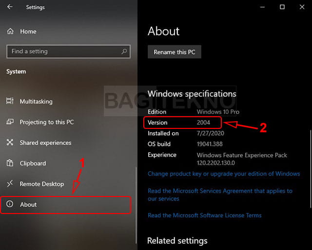 How to find out the version of Windows 10 on the laptop you are using