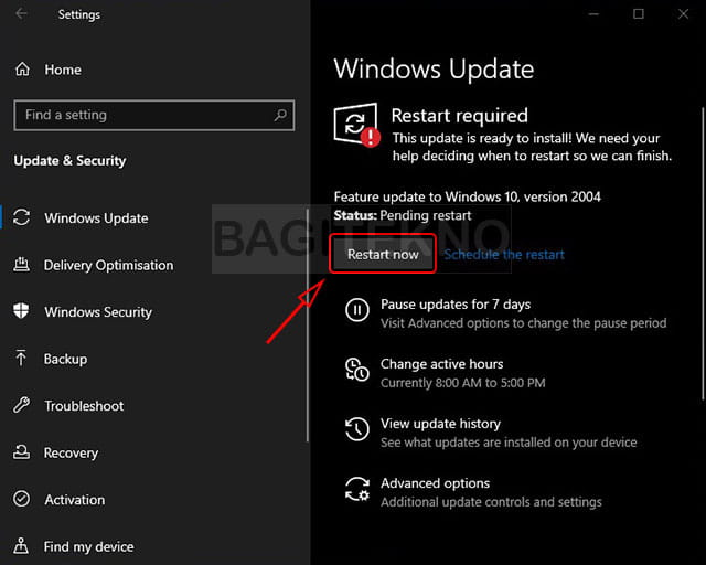 Install the latest Windows 10 update feature