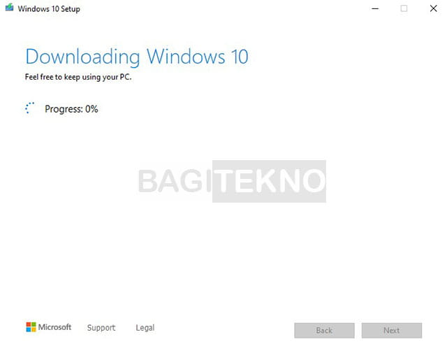 The process of downloading Windows 10