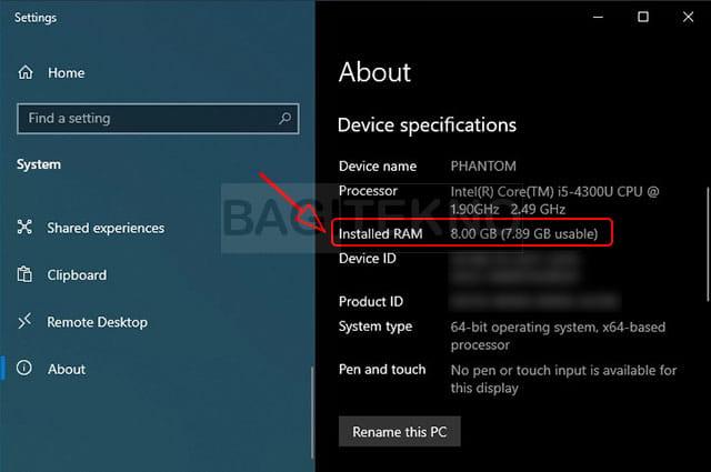Menampilkan informasi RAM di Windows 10