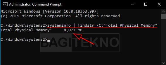 Cara melihat RAM menggunakan CMD