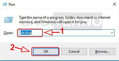 Cara membuka dxdiag menggunakan RAM