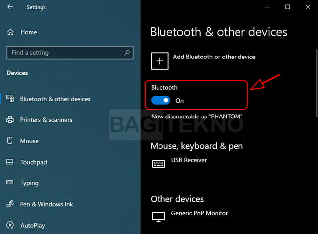 Aktivasi Bluetooth melalui Windows 10 Settings