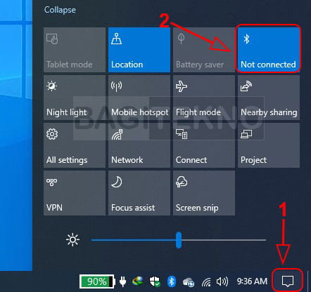 Aktivasi Bluetooth melalui Action Center