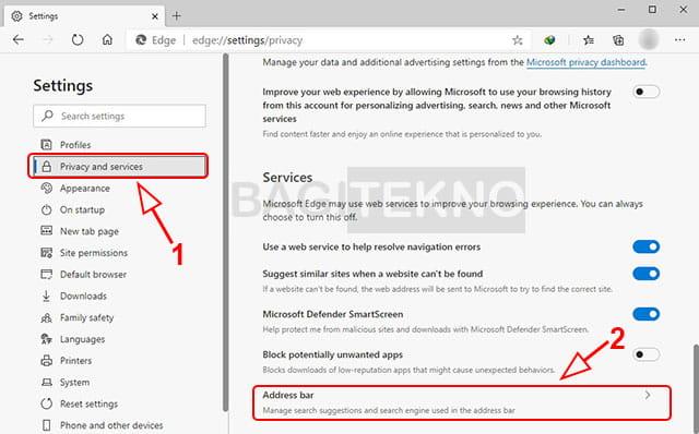 Cara mengubah search engine default Microsoft Edge Chromium