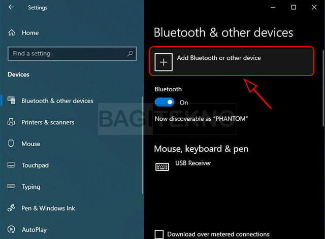 Menambahkan perangkat baru di Windows 10