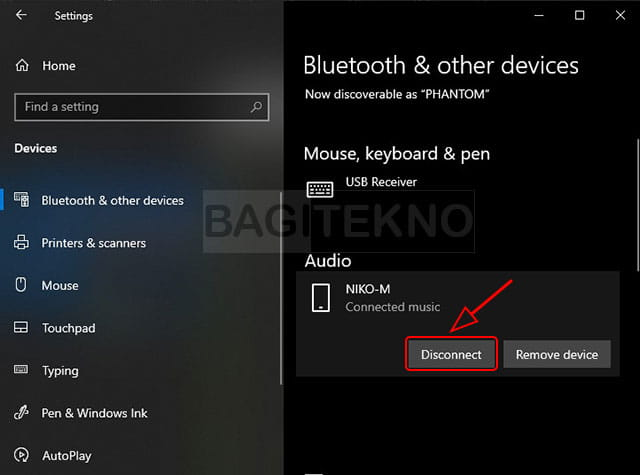 Memutuskan sambungkan speaker Bluetooth