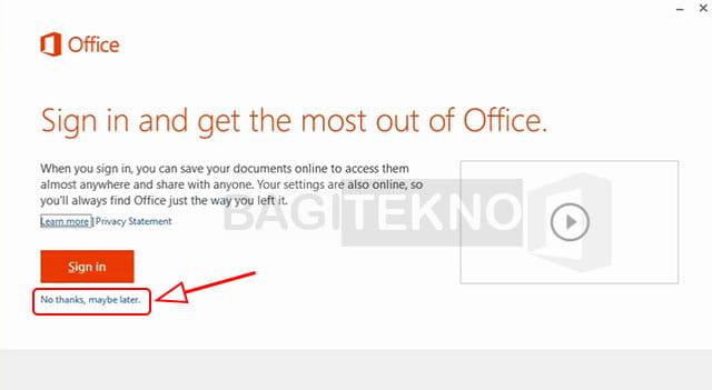 Penginstalan Office 2013 tanpa login