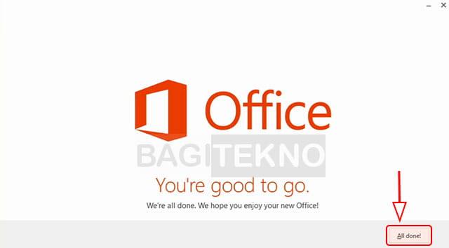 Proses install Office 2013 selesai