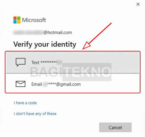 Verifikasi akun sms di Windows 10