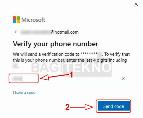 Masukkan nomor HP verifikasi akun Microsoft