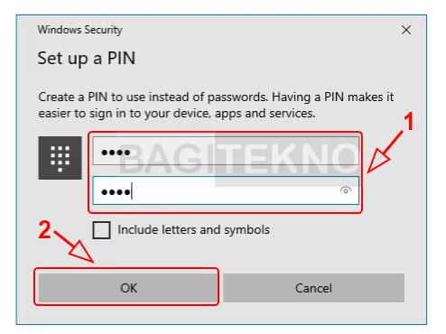 Masukkan pin baru di Windows 10