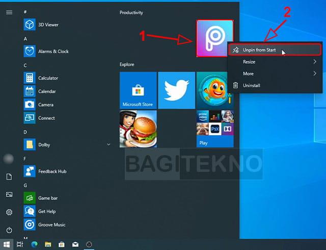 Menghilangkan semua icon tile di Windows 10