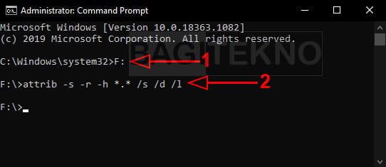 Menampilkan file dan folder yang disembunyikan virus menggunakan CMD