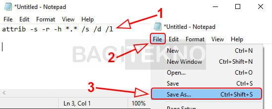 Menampilkan file dan folder yang disembunyikan virus menggunakan Notepad