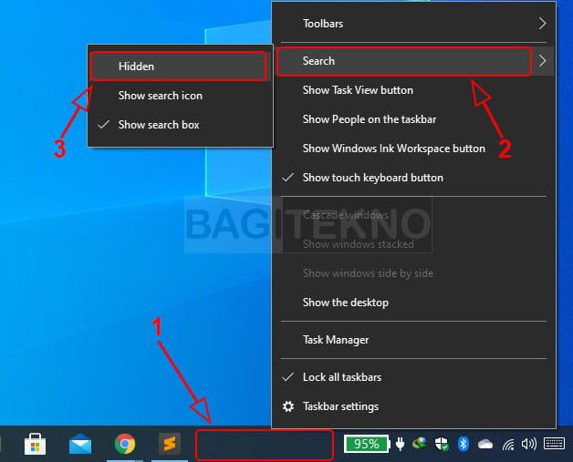 Cara menyembunyikan kotak pencarian pada taskbar Windows 10