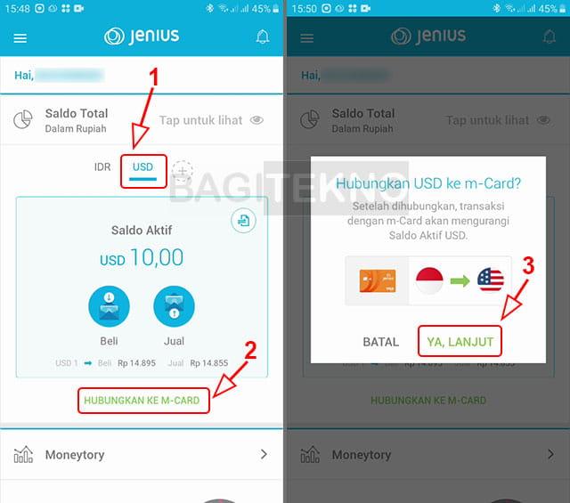 Menghubungkan kartu ATM ke Dollar