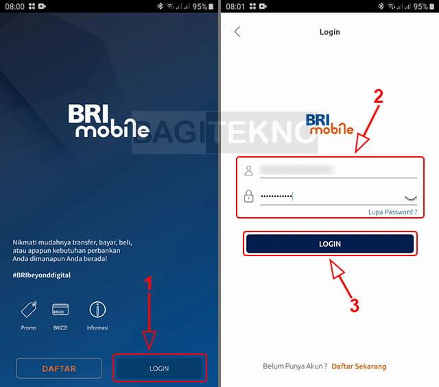 Login aplikasi BRImo BRI