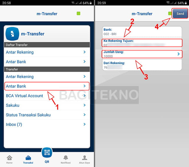 daftar rekening transfer BCA ke Bank BRI, BNI, Mandiri, dll