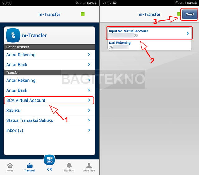 daftar rekening transfer BCA ke Virtual Account
