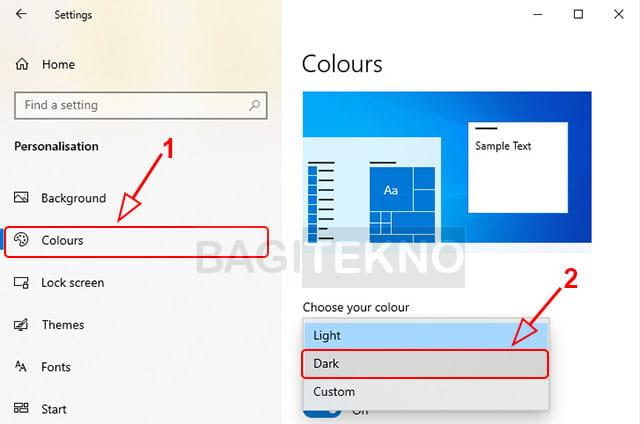 Cara mengubah tampilan File Explorer menjadi dark theme